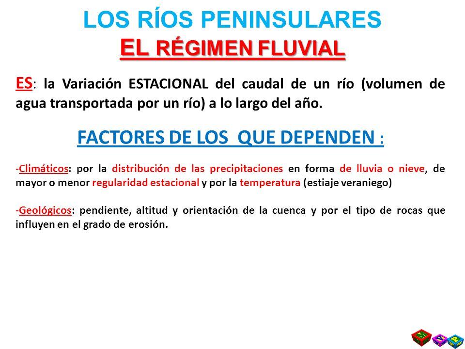EL RÉGIMEN FLUVIAL LOS RÍOS PENINSULARES EL RÉGIMEN FLUVIAL ES : la Variación ESTACIONAL del caudal de un río (volumen de agua transportada por un río) a lo largo del año.