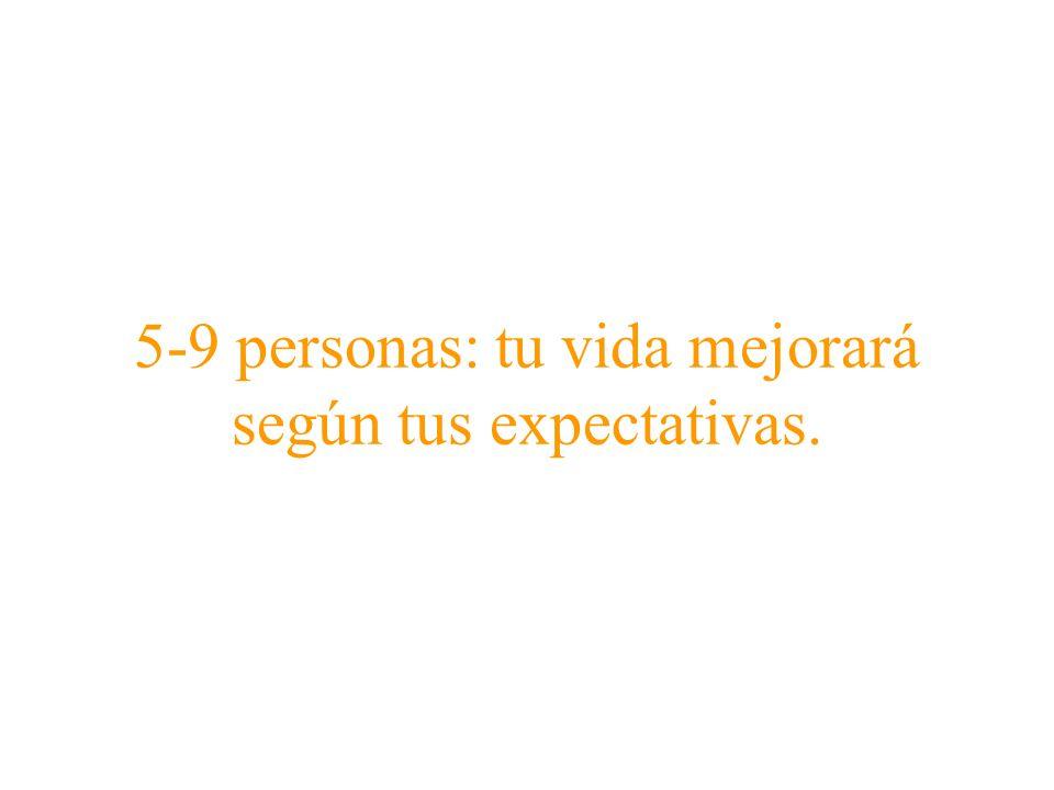 5-9 personas: tu vida mejorará según tus expectativas.