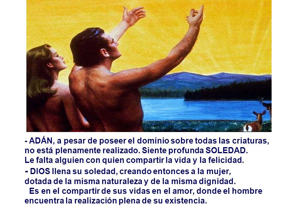- ADÁN, a pesar de poseer el dominio sobre todas las criaturas, no está plenamente realizado.