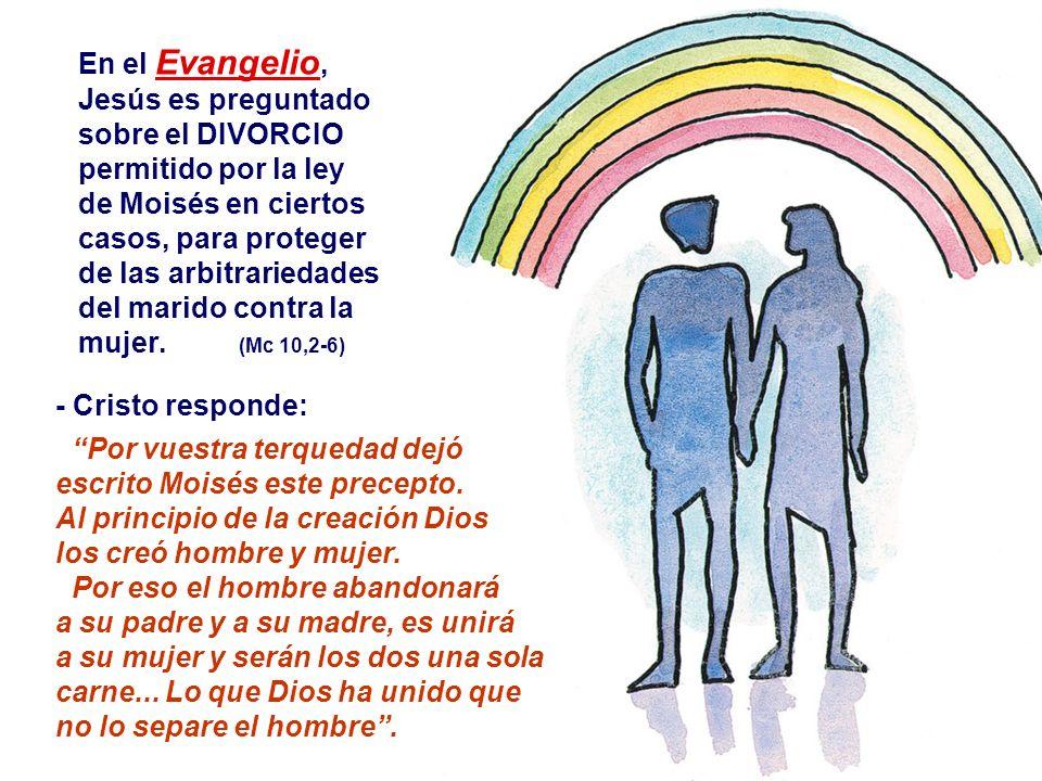 En el Evangelio, Jesús es preguntado sobre el DIVORCIO permitido por la ley de Moisés en ciertos casos, para proteger de las arbitrariedades del marido contra la mujer.