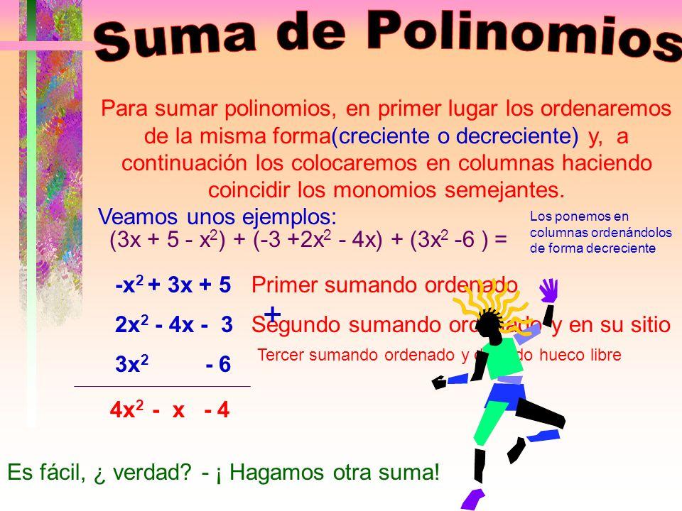 Clasificación de los Polinomios POLINOMIOS COMPLETO INCOMPLETO 2X 3 -5+2X DESORDENADO X 3 +4X-2X 2 +1 ORDENADO X 3 -2X 2 +4X+1 CRECIENTE 1+4X-2X 2 +X