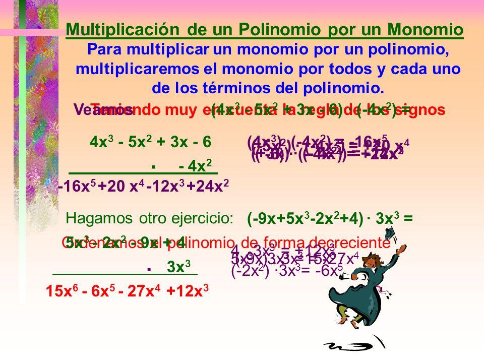 Para restar monomios se le suma al minuendo el opuesto del sustraendo Veamos:Efectuar:(-5a + 6 -2a 2 + 3a 3 ) - (3a 2 - 5a - 2a 3 -5) = MinuendoSustra