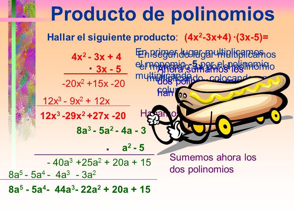 Multiplicación de un Polinomio por un Monomio Para multiplicar un monomio por un polinomio, multiplicaremos el monomio por todos y cada uno de los tér
