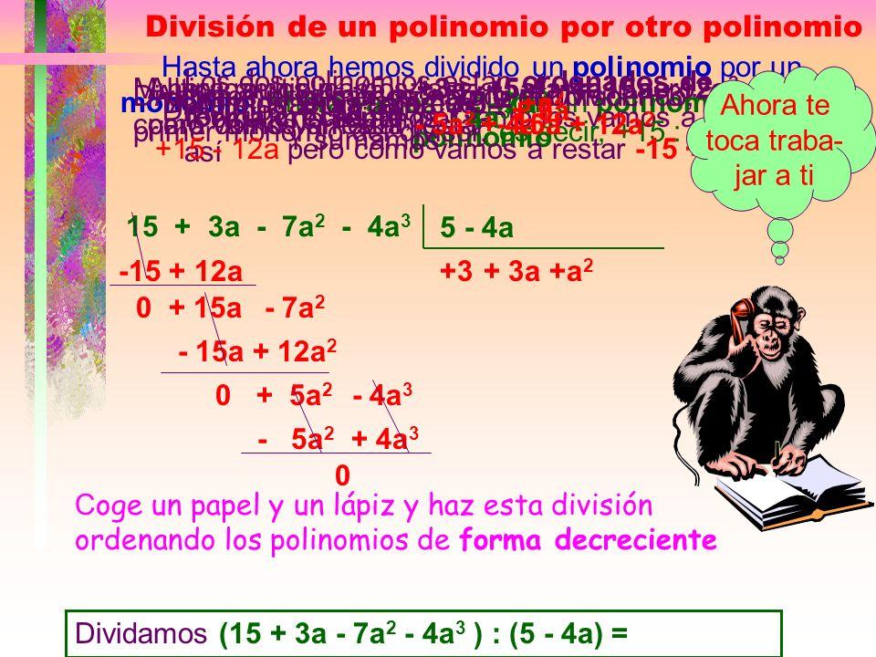 División de Polinomios (27x 5 -18x 3 -3x 2 ) : (9x 2 ) = El polinomio está ordenado en forma decreciente, lo vamos a ordenar,en este caso, de forma cr