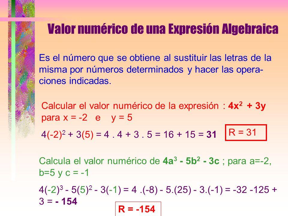 Valor numérico de una Expresión Algebraica Es el número que se obtiene al sustituir las letras de la misma por números determinados y hacer las opera- ciones indicadas.