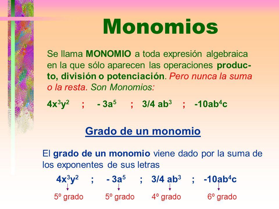Monomios Se llama MONOMIO a toda expresión algebraica en la que sólo aparecen las operaciones produc- to, división o potenciación.