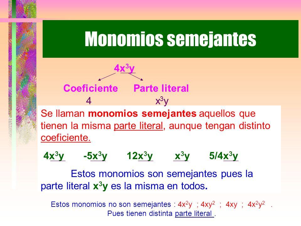 Monomios semejantes Se llaman monomios semejantes aquellos que tienen la misma parte literal, aunque tengan distinto coeficiente.