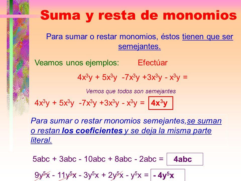 Monomios semejantes Se llaman monomios semejantes aquellos que tienen la misma parte literal, aunque tengan distinto coeficiente. 4x 3 y -5x 3 y 12x 3