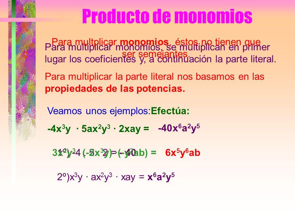 Producto de monomios Para multiplicar monomios, se multiplican en primer lugar los coeficientes y, a continuación la parte literal.