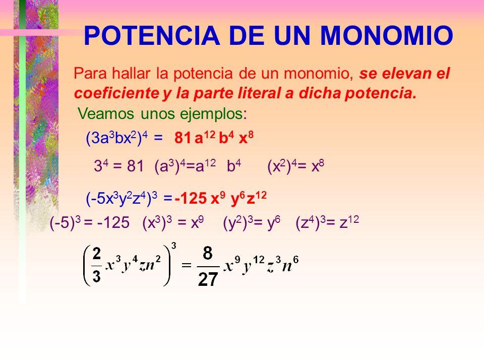 POTENCIA DE UN MONOMIO Para hallar la potencia de un monomio, se elevan el coeficiente y la parte literal a dicha potencia.