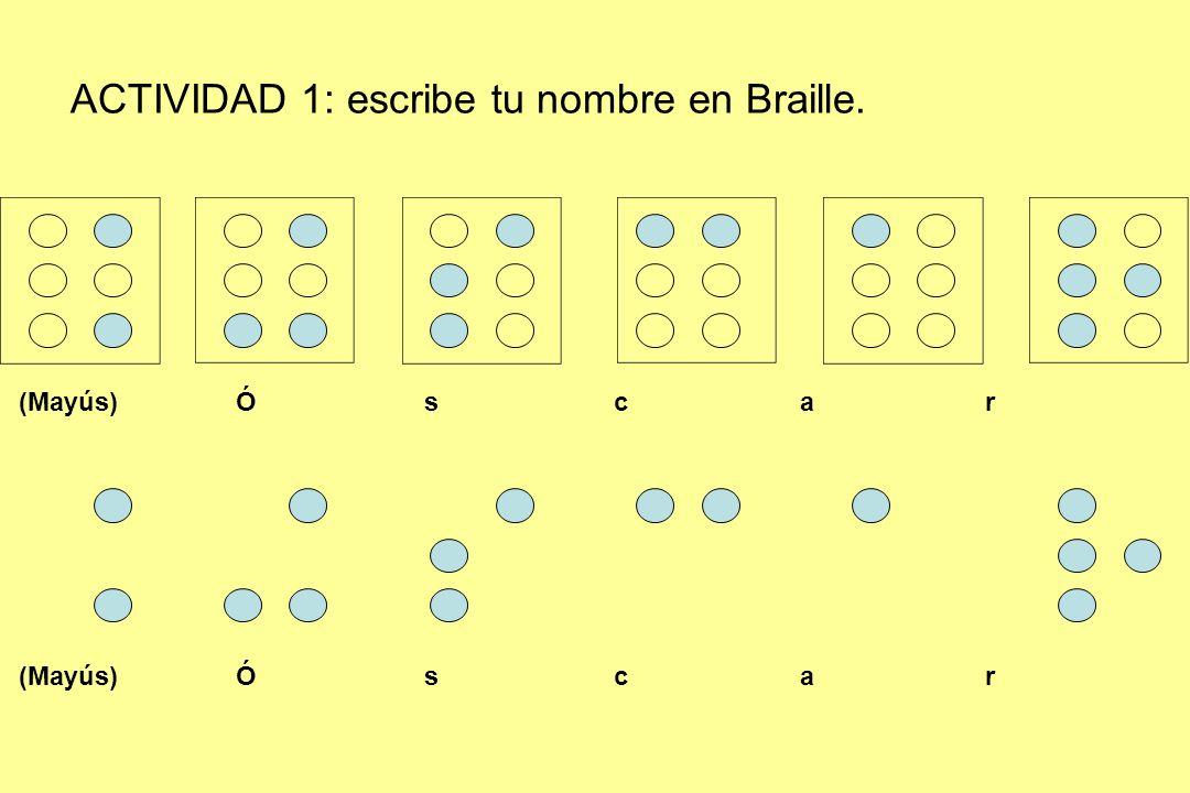 ACTIVIDAD 1: escribe tu nombre en Braille. (Mayús) Ó s c a r