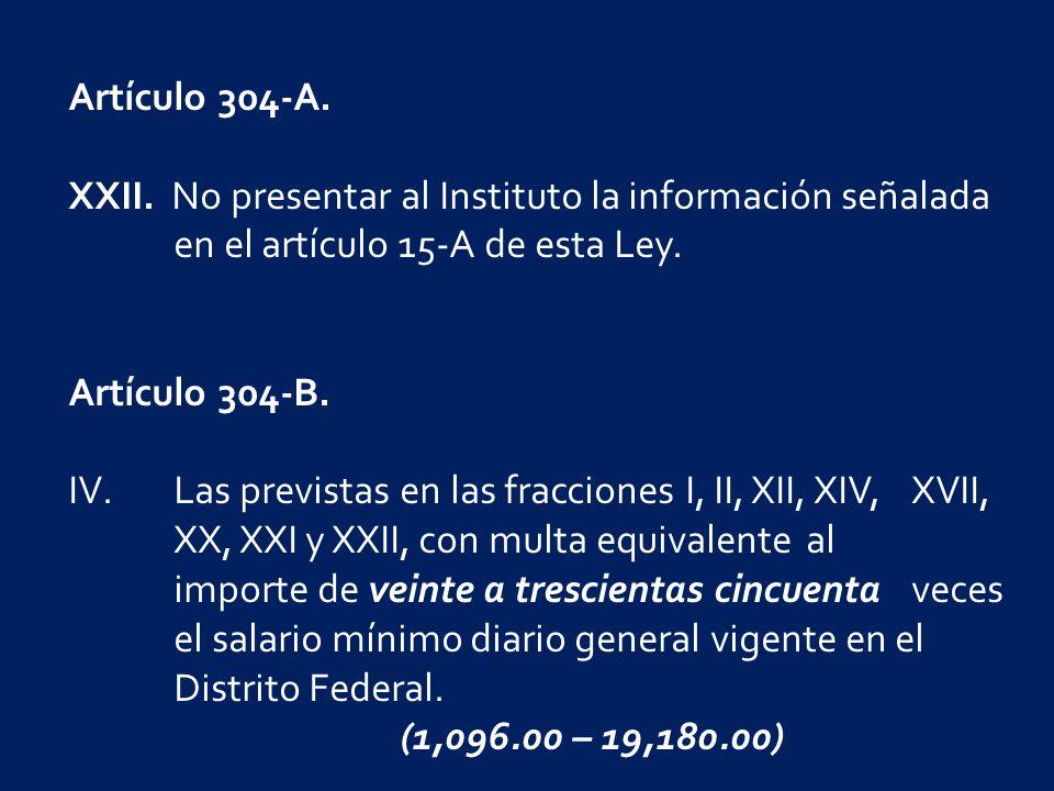 Artículo 304-A. XXII.