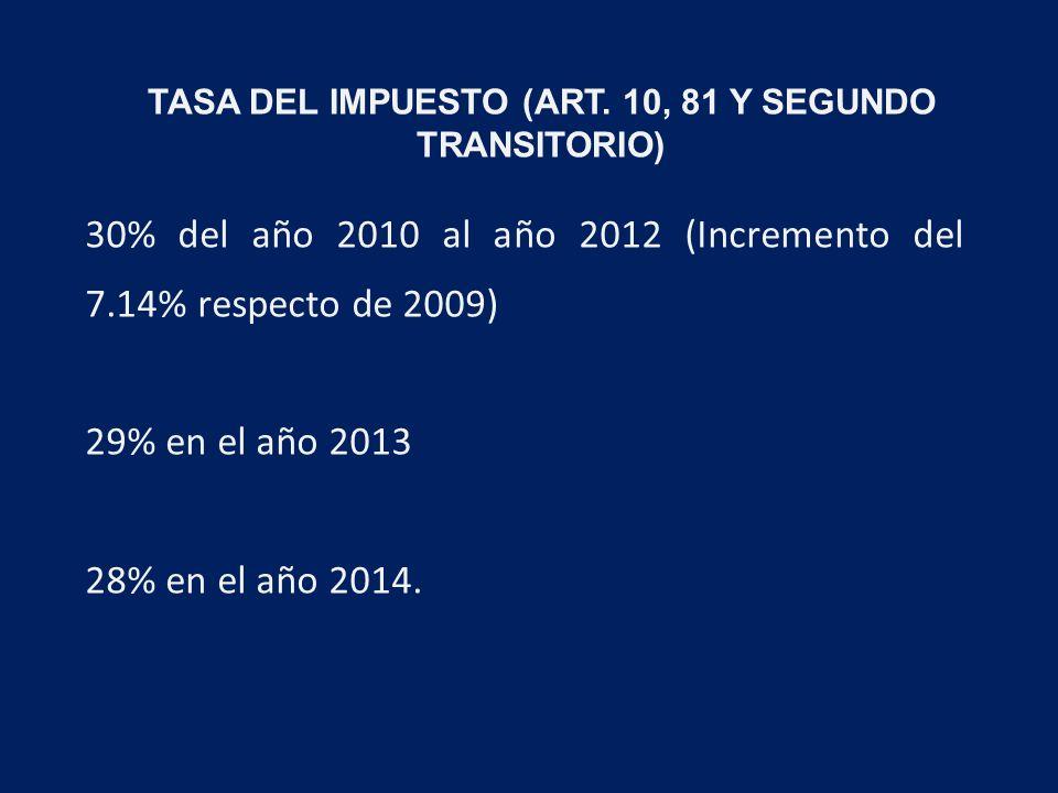 30% del año 2010 al año 2012 (Incremento del 7.14% respecto de 2009) 29% en el año 2013 28% en el año 2014.