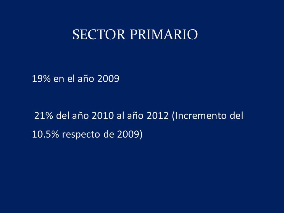 SECTOR PRIMARIO 19% en el año 2009 21% del año 2010 al año 2012 (Incremento del 10.5% respecto de 2009)