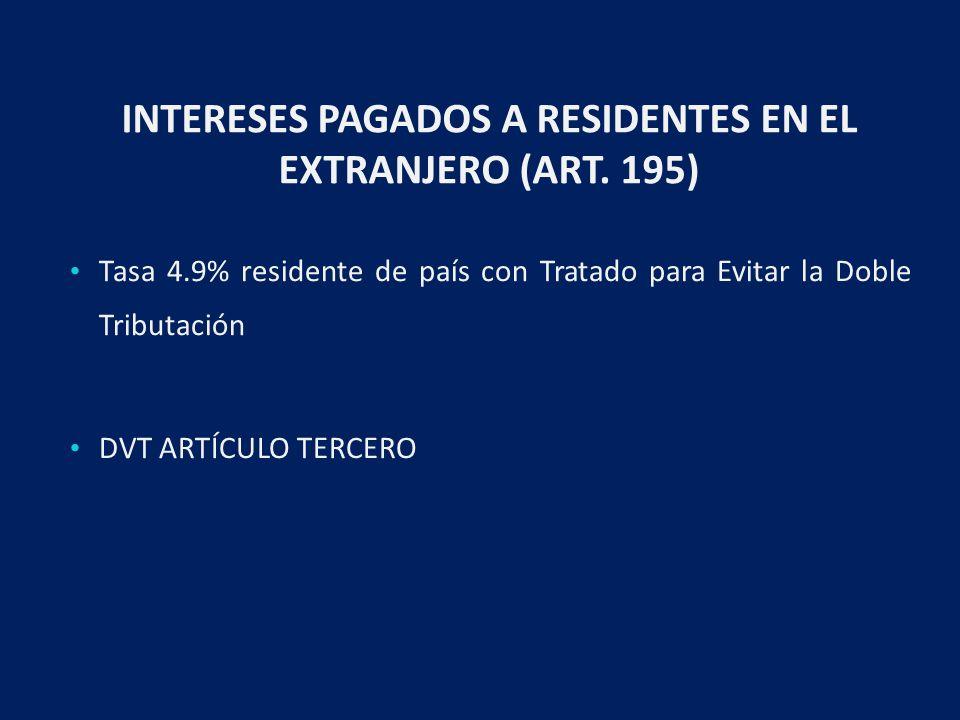 INTERESES PAGADOS A RESIDENTES EN EL EXTRANJERO (ART.