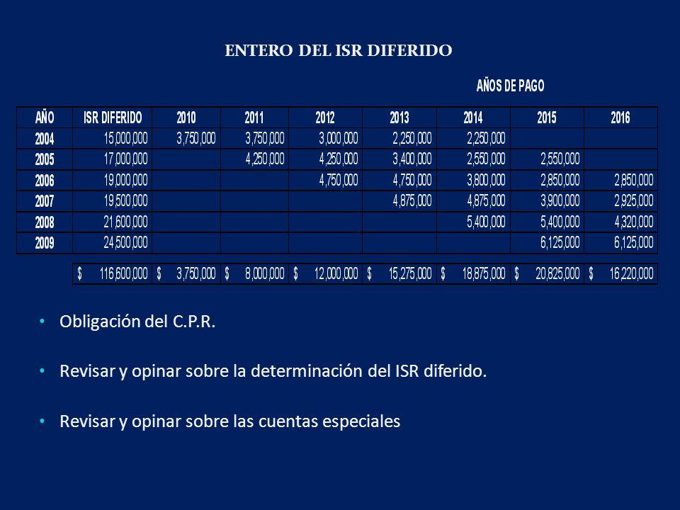 ENTERO DEL ISR DIFERIDO Obligación del C.P.R.