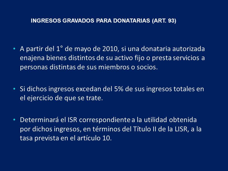INGRESOS GRAVADOS PARA DONATARIAS (ART.