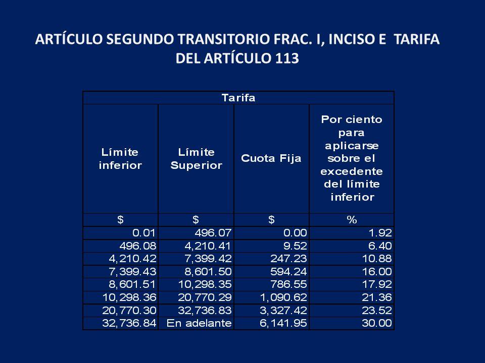 ARTÍCULO SEGUNDO TRANSITORIO FRAC. I, INCISO E TARIFA DEL ARTÍCULO 113