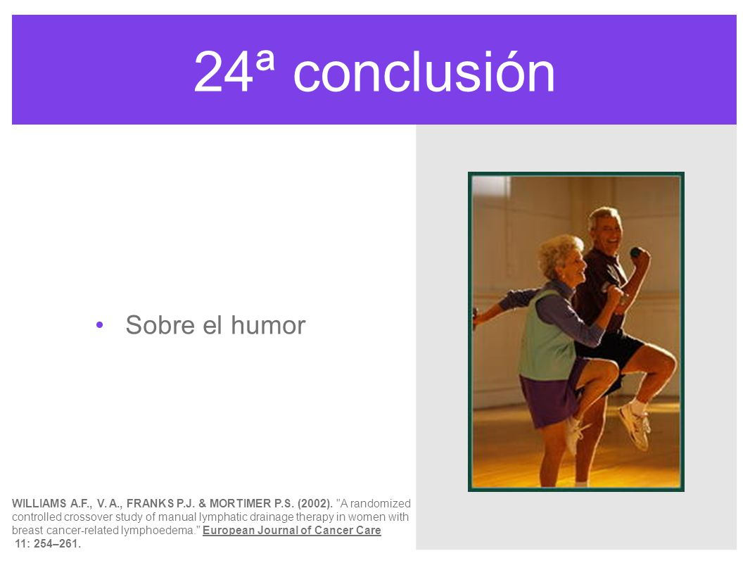 24ª conclusión Sobre el humor WILLIAMS A.F., V. A., FRANKS P.J. & MORTIMER P.S. (2002).
