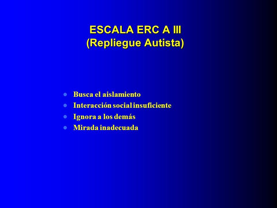 ESCALA ERC A III (Repliegue Autista) Busca el aislamiento Interacción social insuficiente Ignora a los demás Mirada inadecuada