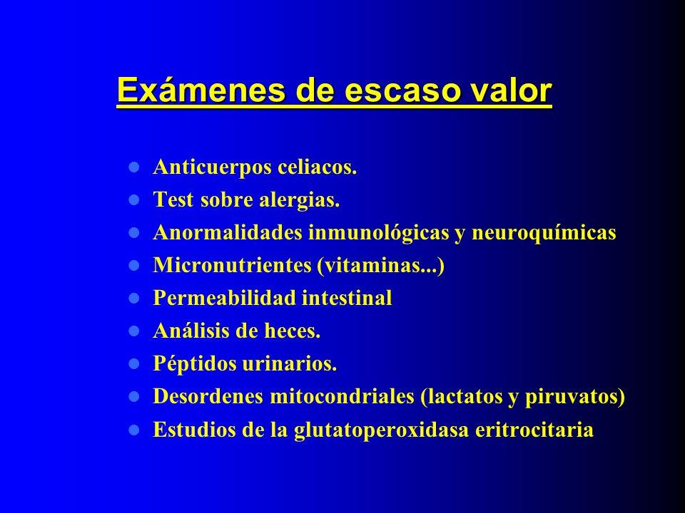 Exámenes de escaso valor Anticuerpos celiacos. Test sobre alergias. Anormalidades inmunológicas y neuroquímicas Micronutrientes (vitaminas...) Permeab