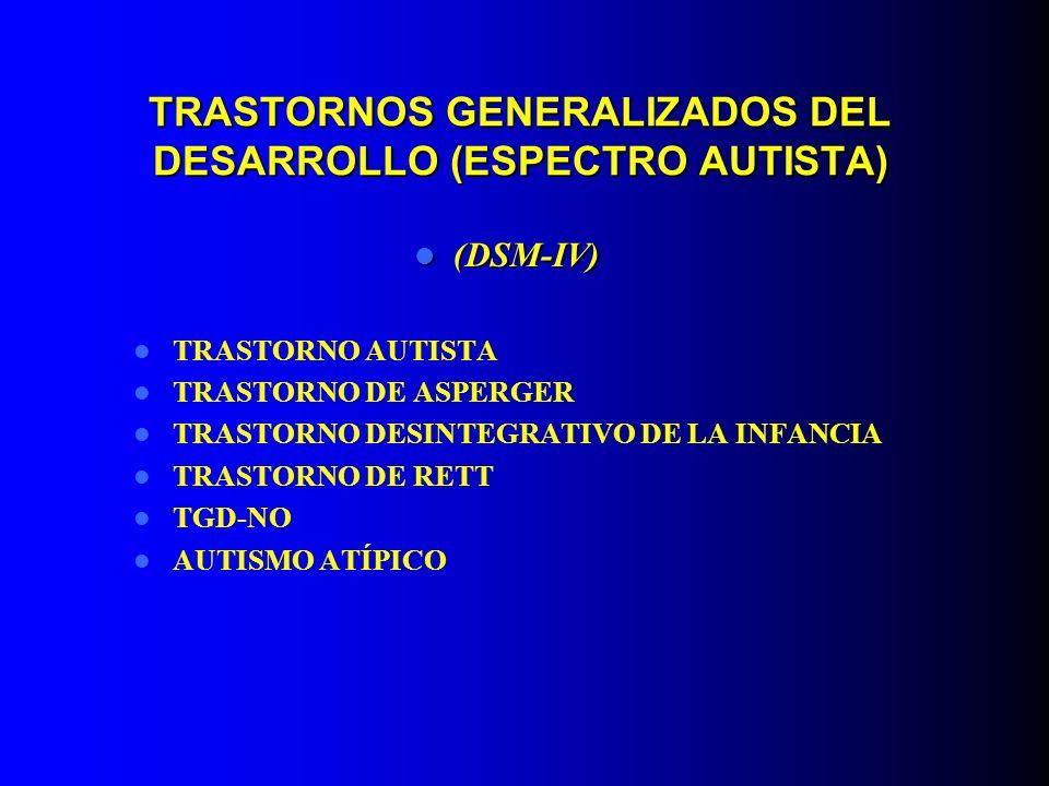 TRASTORNOS GENERALIZADOS DEL DESARROLLO (ESPECTRO AUTISTA) (DSM-IV) (DSM-IV) TRASTORNO AUTISTA TRASTORNO DE ASPERGER TRASTORNO DESINTEGRATIVO DE LA IN