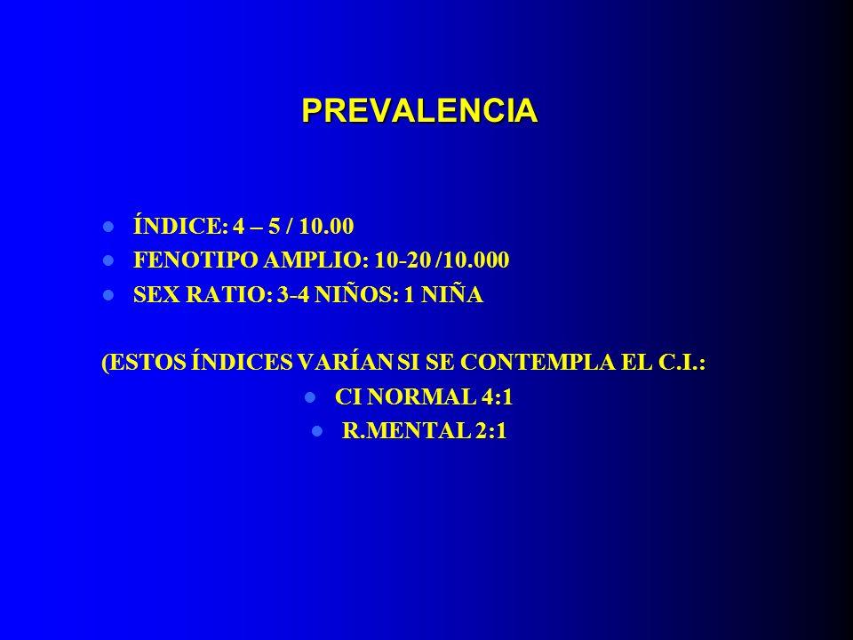 PREVALENCIA ÍNDICE: 4 – 5 / 10.00 FENOTIPO AMPLIO: 10-20 /10.000 SEX RATIO: 3-4 NIÑOS: 1 NIÑA (ESTOS ÍNDICES VARÍAN SI SE CONTEMPLA EL C.I.: CI NORMAL