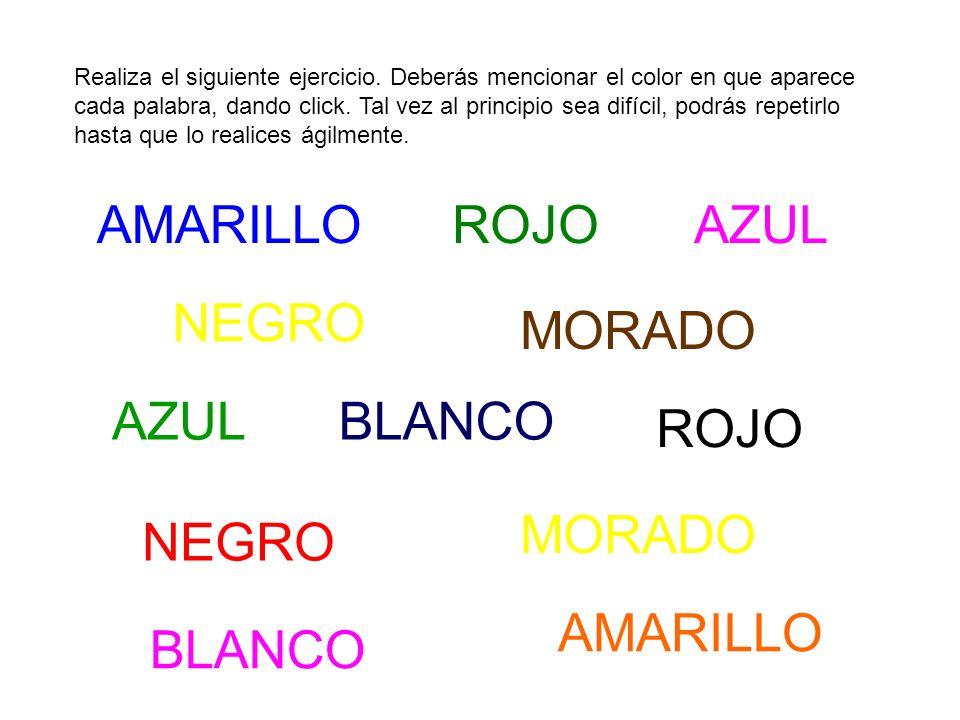 Realiza el siguiente ejercicio. Deberás mencionar el color en que aparece cada palabra, dando click. Tal vez al principio sea difícil, podrás repetirl
