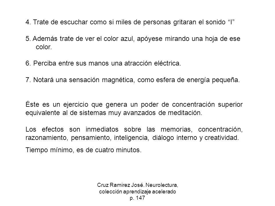 Cruz Ramirez José. Neurolectura, colección aprendizaje acelerado p. 147 4. Trate de escuchar como si miles de personas gritaran el sonido I 5. Además