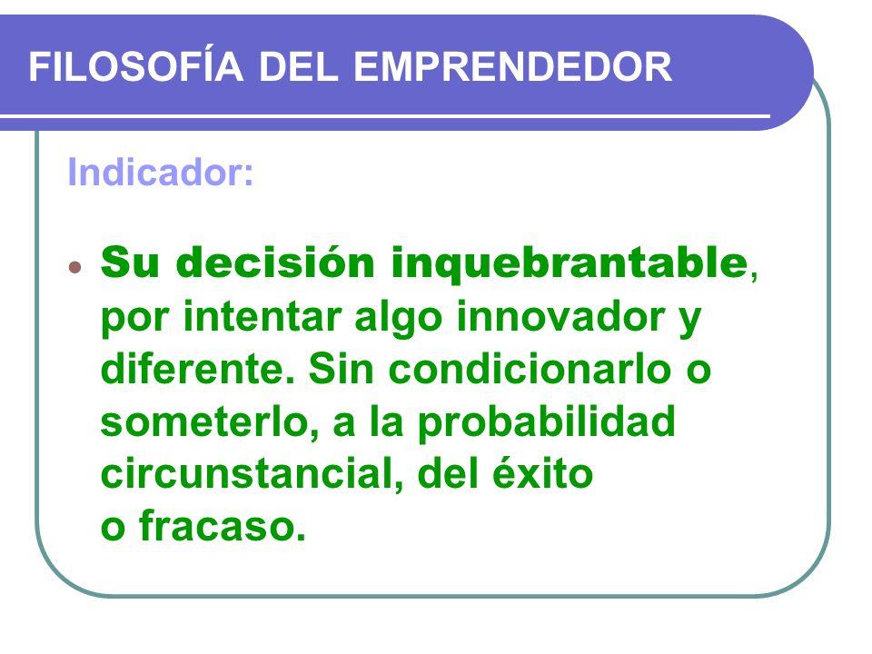 FILOSOFÍA DEL EMPRENDEDOR Indicador: Su decisión inquebrantable, por intentar algo innovador y diferente. Sin condicionarlo o someterlo, a la probabil