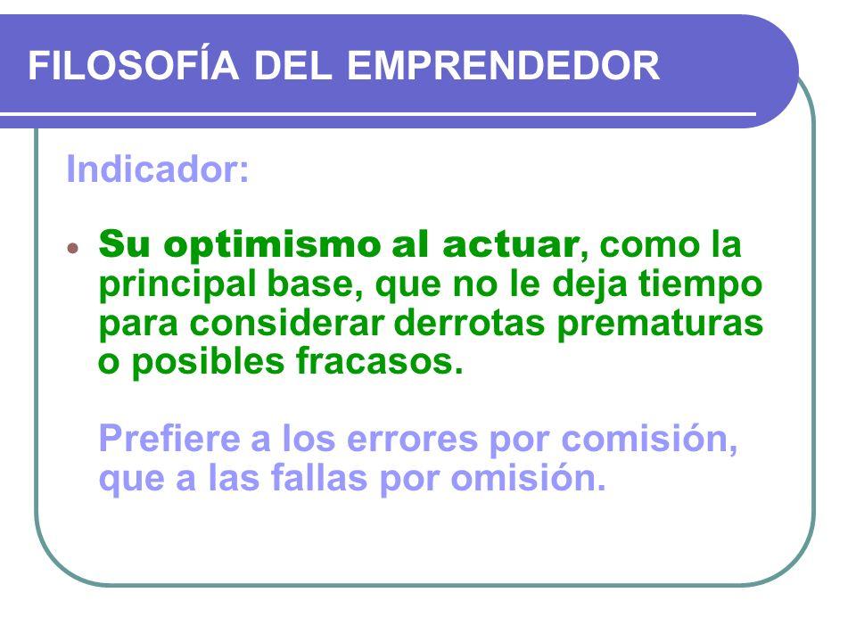 FILOSOFÍA DEL EMPRENDEDOR Indicador: Su optimismo al actuar, como la principal base, que no le deja tiempo para considerar derrotas prematuras o posib