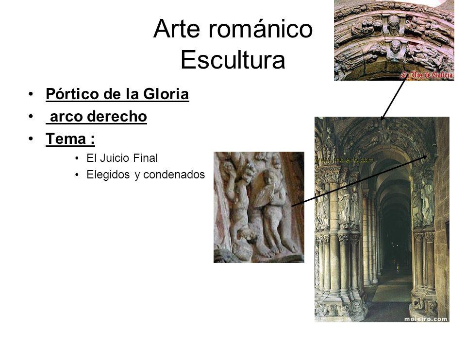 Arte románico Escultura Pórtico de la Gloria arco derecho Tema : El Juicio Final Elegidos y condenados