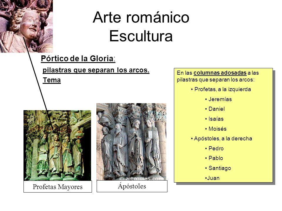 Arte románico Escultura Pórtico de la Gloria: pilastras que separan los arcos. Tema En las columnas adosadas a las pilastras que separan los arcos: Pr