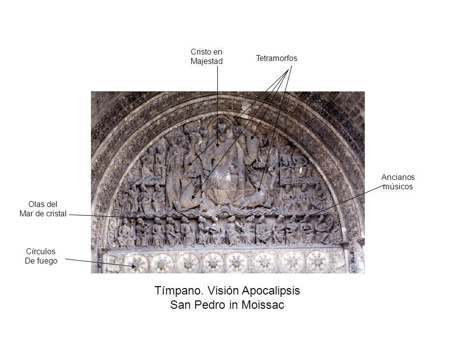 Tímpano. Visión Apocalipsis San Pedro in Moissac Círculos De fuego Olas del Mar de cristal Cristo en Majestad Tetramorfos Ancianos músicos