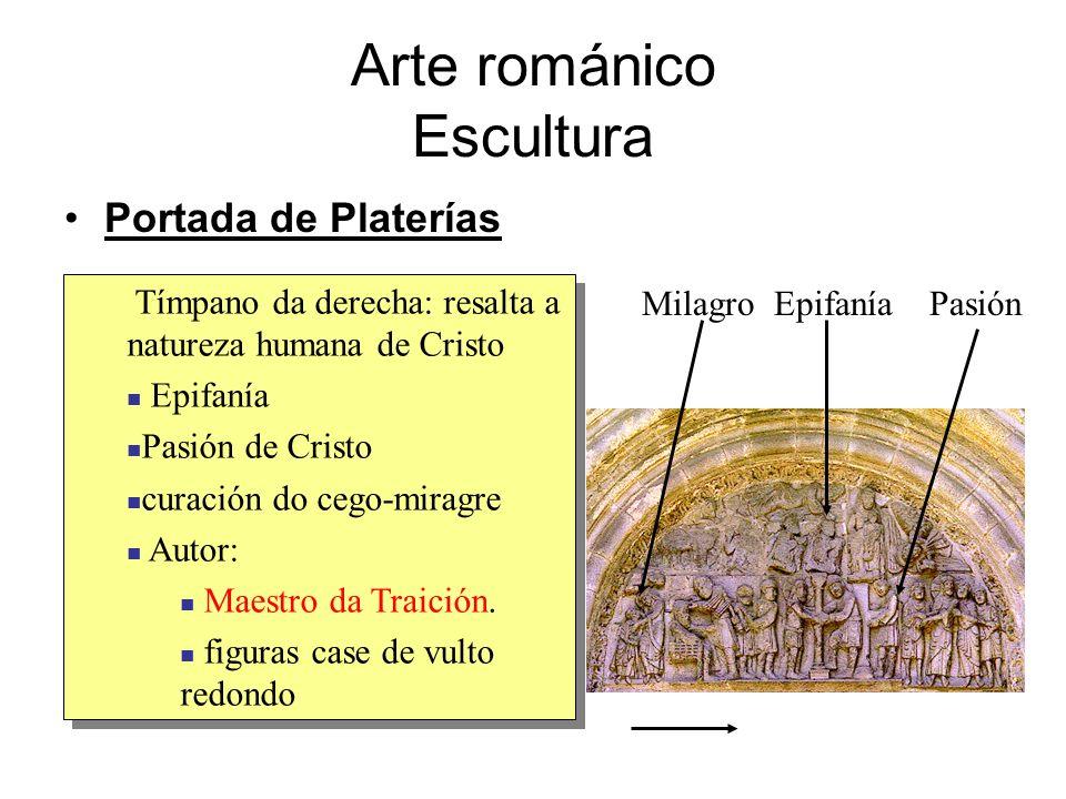 Arte románico Escultura Portada de Platerías Tímpano da derecha: resalta a natureza humana de Cristo Epifanía Pasión de Cristo curación do cego-miragr