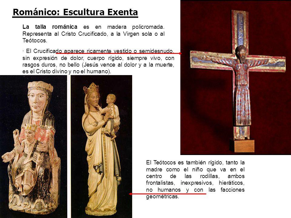 Románico: Escultura Exenta La talla románica es en madera policromada. Representa al Cristo Crucificado, a la Virgen sola o al Teótocos. · El Crucific