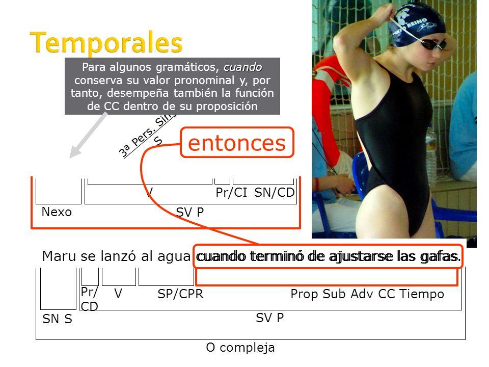 9 Temporales: Nexos Adverbio relativo cuando Adverbios mientras y apenas, que en tal caso pasan a ser conjunciones Preposición según, que en tal caso