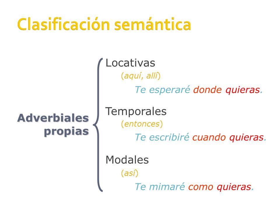 12 Modales: Nexos Adverbio relativo como Preposición según, que en tal caso pasa a ser conjunción Locuciones conjuntivas conforme y tal y como