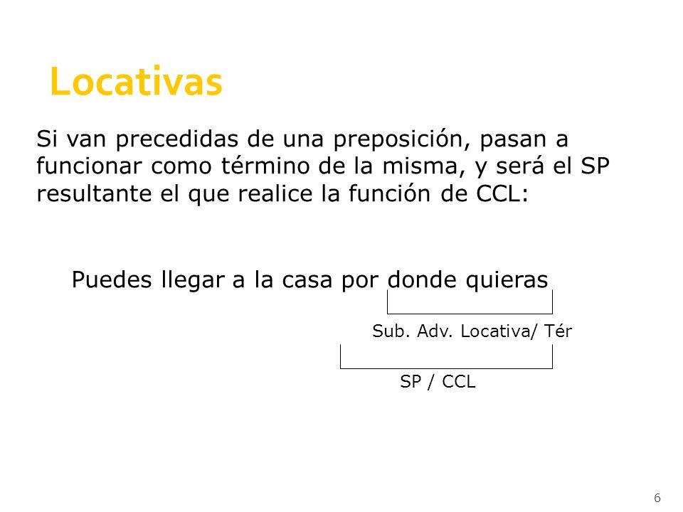 6 Locativas Si van precedidas de una preposición, pasan a funcionar como término de la misma, y será el SP resultante el que realice la función de CCL: Puedes llegar a la casa por donde quieras Sub.