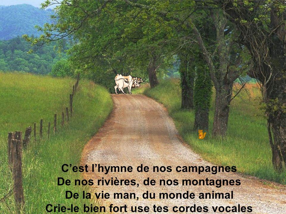 Cest lhymne de nos campagnes De nos rivières, de nos montagnes De la vie man, du monde animal Crie-le bien fort use tes cordes vocales