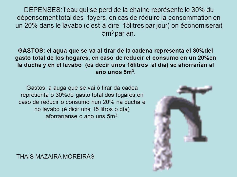 DÉPENSES: leau qui se perd de la chaîne représente le 30% du dépensement total des foyers, en cas de réduire la consommation en un 20% dans le lavabo
