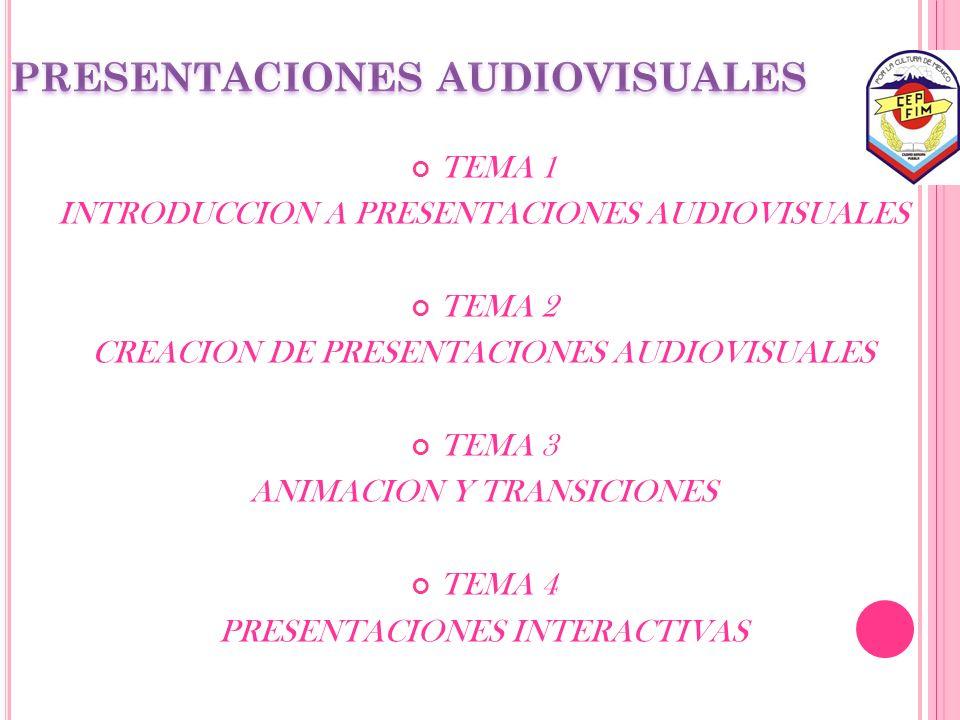 TEMA 1 INTRODUCCION A PRESENTACIONES AUDIOVISUALES TEMA 2 CREACION DE PRESENTACIONES AUDIOVISUALES TEMA 3 ANIMACION Y TRANSICIONES TEMA 4 PRESENTACION