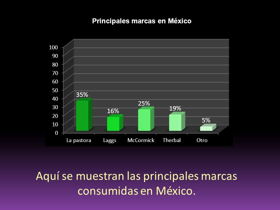 Aquí se muestran las principales marcas consumidas en México.