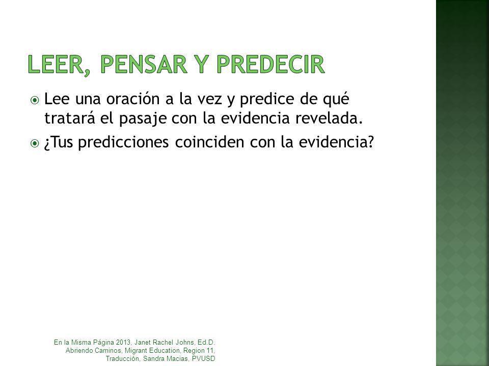 Lee una oración a la vez y predice de qué tratará el pasaje con la evidencia revelada. ¿Tus predicciones coinciden con la evidencia? En la Misma Págin