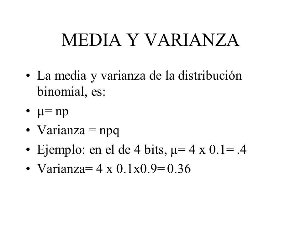 MEDIA Y VARIANZA La media y varianza de la distribución binomial, es: µ= np Varianza = npq Ejemplo: en el de 4 bits, µ= 4 x 0.1=.4 Varianza= 4 x 0.1x0