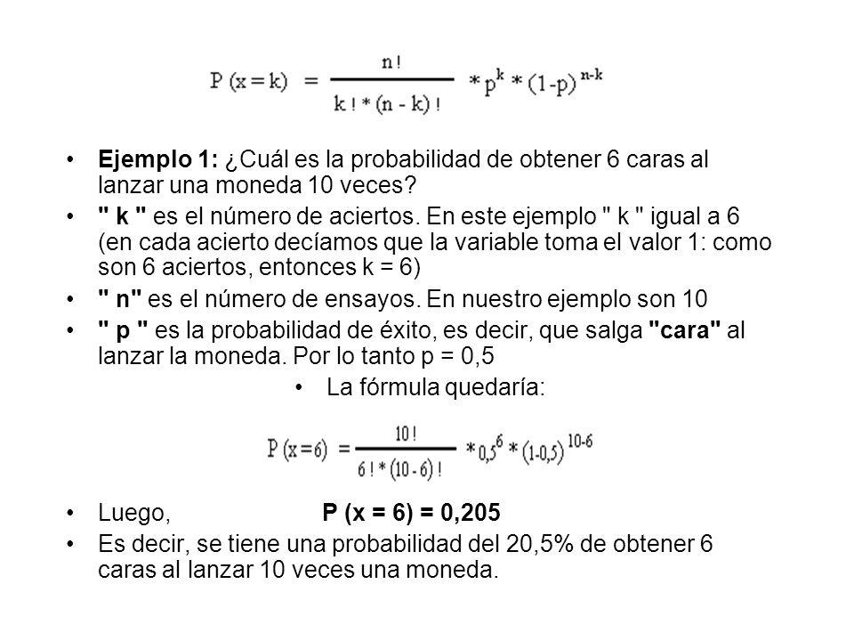 Ejemplo 1: ¿Cuál es la probabilidad de obtener 6 caras al lanzar una moneda 10 veces?