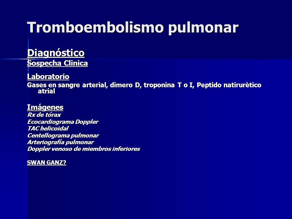 Diagnóstico Sospecha Clinica Laboratorio Gases en sangre arterial, dimero D, troponina T o I, Peptido natirurètico atrial Imágenes Rx de tórax Ecocard
