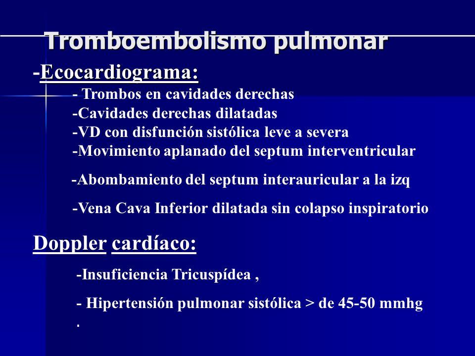Ecocardiograma: -Ecocardiograma: - Trombos en cavidades derechas -Cavidades derechas dilatadas -VD con disfunción sistólica leve a severa -Movimiento