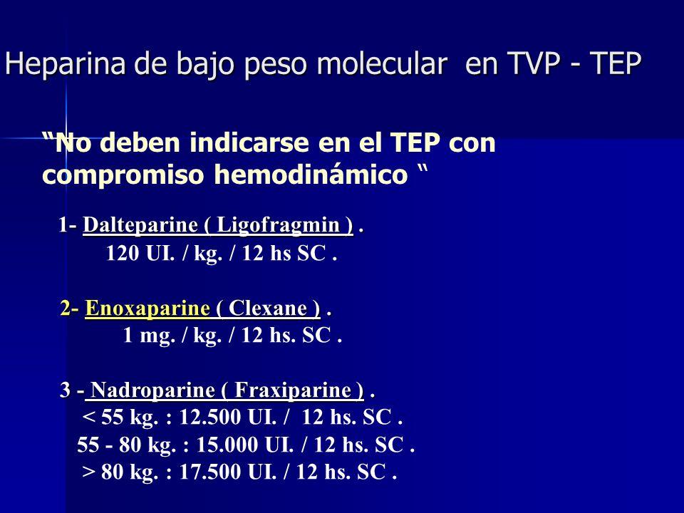 Heparina de bajo peso molecular en TVP - TEP 1- Dalteparine ( Ligofragmin ). 1- Dalteparine ( Ligofragmin ). 120 UI. / kg. / 12 hs SC. 2- Enoxaparine