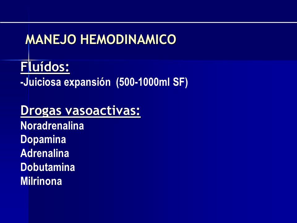 Fluídos: -Juiciosa expansión (500-1000ml SF) Drogas vasoactivas: Noradrenalina Dopamina Adrenalina Dobutamina Milrinona MANEJO HEMODINAMICO